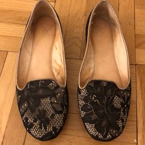 Super cool black lace loafers